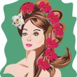 Woman hairstyle and flowers — Stock Vector