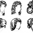 Six hairstyles — Stock Vector
