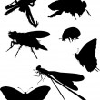 Bee and other insect silhouettes — Stockvektor