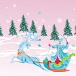Pink illustration with woman on sleigh - Stock Vector