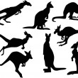 Постер, плакат: Eight kangaroo silhouettes