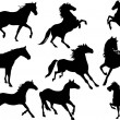 Royalty-Free Stock Vector Image: Set of nine horse silhouettes