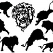 Eight lion silhouettes — Stock Vector