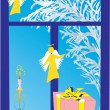 Royalty-Free Stock Vector Image: Blue winter window