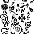 Silhouette of floral ornament elements - Stock Vector