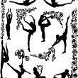 Royalty-Free Stock Imagem Vetorial: Dancing women silhouettes