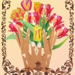 Hand and flowers in floral frame — Stock Vector