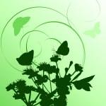 Vertical green cherry tree flowers — Stock Vector #6261642