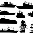 Ten ship silhouettes - Stock Vector