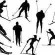 Stock Vector: Different skier silhouettes