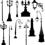 Set of street lamps — Stock Vector #6261733