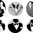 Stock Vector: Six man ties