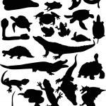 Постер, плакат: Reptile and amphibian silhouettes