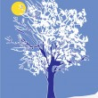 Stock Vector: Winter tree and moon