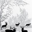 Winter landscape with deers -  