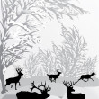 Winter landscape with deers - Stock Vector