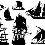 Seven sailer silhouettes — Stock Vector