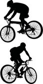 Two men on bicycles — Vector de stock