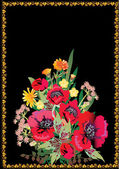 Poppy vermelho e flores silvestres — Vetorial Stock