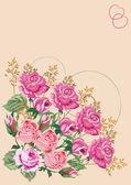 Pink rose corner — Stock Vector