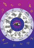 Round of zodiac symbols — Stock Vector