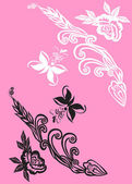 Black and white decoration on pink — Cтоковый вектор