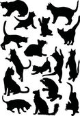 Sixteen cat silhouettes — Stock Vector