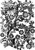 Schwarzer hintergrund-dekoration mit vögeln — Stockvektor