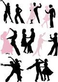 танцор силуэт пары — Cтоковый вектор