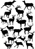 Eighteen deer silhouettes — Stock Vector