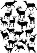 Eighteen deer silhouettes — Stock Vector