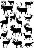 Fifteen deers in black — Stock Vector