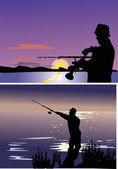 Fishermen in rivers — Stock Vector