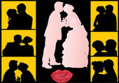 Wedding couples silhouettes — Stock Vector