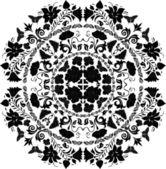 Black rose round illustration — Stock Vector