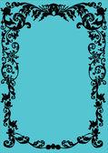 Black on blue floral frame — Stock Vector