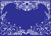 Gorizontal white curled frame on blue — Stock Vector