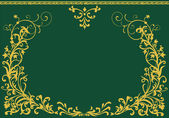 Moldura dourada de enrolado no verde — Vetorial Stock