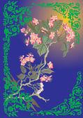 árvore de cereja rosa em curles verde — Vetorial Stock