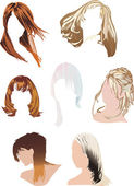Seven woman hairstyles — Stock Vector