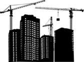 Three cranes and building — Stock Vector