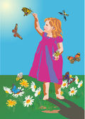 Small girl and butterflies — Stock Vector