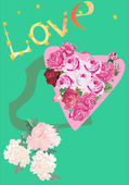 Crisantemo e cuori rosa — Vettoriale Stock