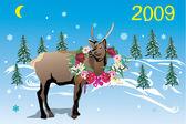 Winter deer with garland — Stock Vector