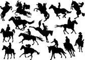 Fifteen horsemen silhouettes — Stock Vector