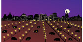 Night city with large parking — Stock Vector