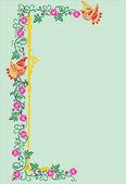 Vertical green floral strip — Stock Vector