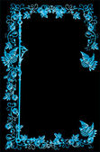 Quadro floral azul wirh aves — Vetorial Stock