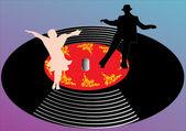 Dancers on gramophone disc — Stock Vector