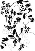 Black on white flower curl — Stock Vector